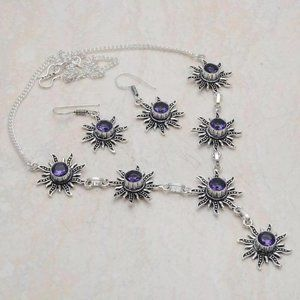 Amethyst Sunburst 925 Silver Necklace Earring Set